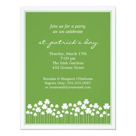 Shamrock Garden St Patricks Party  Invitation