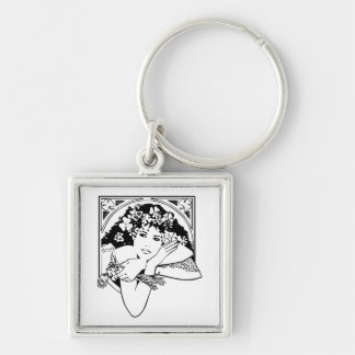 Shamrock girl on any color keychain