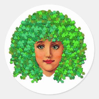 Shamrock Girl Round Sticker
