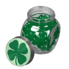 Shamrock Glass Candy Jar at Zazzle