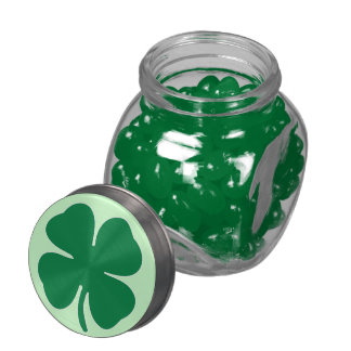 Shamrock Glass Candy Jar