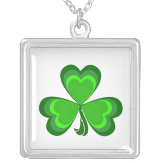 Shamrock Glory on White Silver Plated Necklace