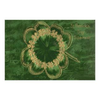 Shamrock Gold Four Leaf Clover Photograph