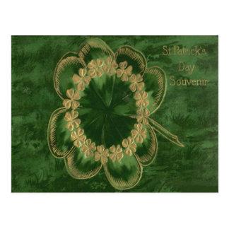 Shamrock Gold Four Leaf Clover Postcard