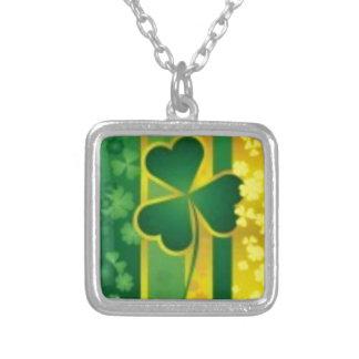 Shamrock Green and Gold Design Pendants