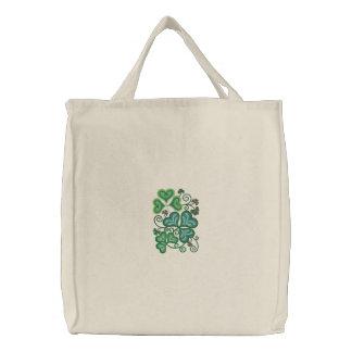 Shamrock Green Embroidered Tote Bag