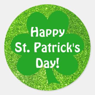 Shamrock Green Glitter Happy St. Patrick's Day Classic Round Sticker