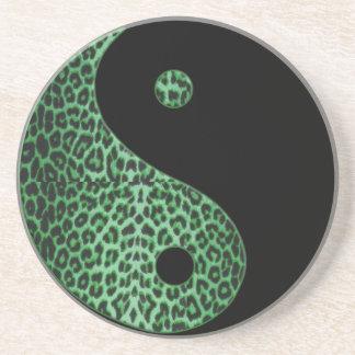 Shamrock Green Leopard and Black Yin-Yang Coasters