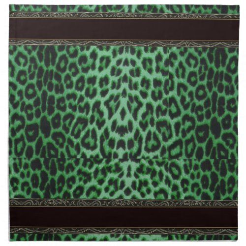 Shamrock Green Leopard with Black and Gold Trim Cloth Napkin