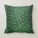 Shamrock Green Lucky Leopard Throw Pillows