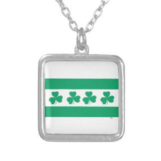 Shamrock Green River Silver Plated Necklace