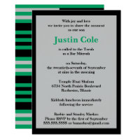 Shamrock Green Silver Stripes on Black Bar Mitzvah Card