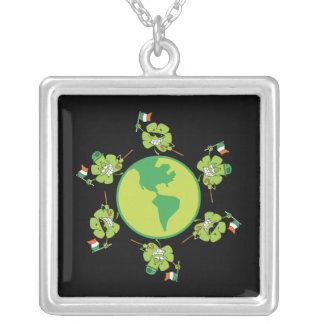 Shamrock Happy Square Pendant Necklace