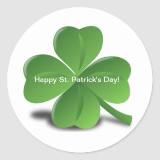Shamrock Happy St. Patricks Day Holiday Clover Classic Round Sticker
