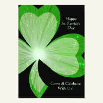 Shamrock 'Happy St.Patrick's Day' invitation black