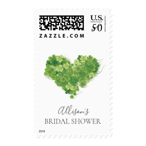 Shamrock Heart Bridal Shower Postage Stamp