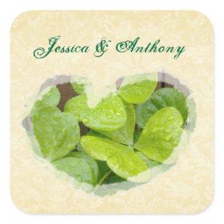 Shamrock Heart Bride and groom Weding sticker