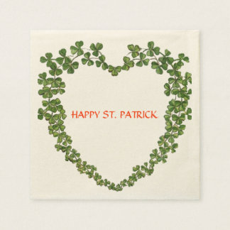 SHAMROCK HEART green purple Paper Napkin