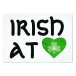 "Shamrock Heart 'Irish at Heart' invitation white 5"" X 7"" Invitation Card"