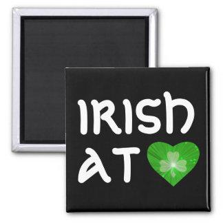 Shamrock Heart 'Irish at Heart' magnet black Magnets
