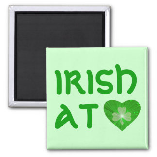 Shamrock Heart 'Irish at Heart' magnet green Fridge Magnet