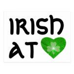Shamrock Heart 'Irish at Heart' postcard white