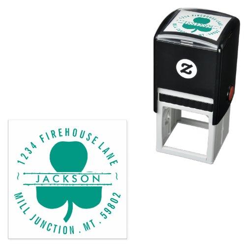 Shamrock In Circle Self-Ink Return Address Stamp