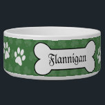 "Shamrock Irish Clover Customized Pet Dog Food Bowl<br><div class=""desc"">Super cute dog food bowl featuring shamrocks,  paw prints and a dog bone to customize with your pet&#39;s name. Perfect for Irish dog breeds or Irish Dogs!</div>"