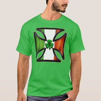 Shamrock Irish Flag Cross T-Shirt