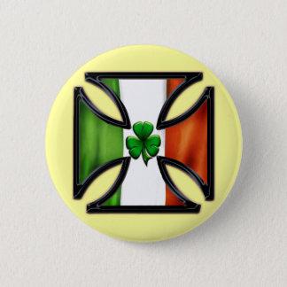 Shamrock Irish Flag Iron Cross Button