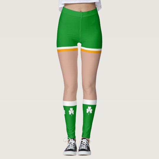 b91b08b897624 Shamrock Irish St Patricks Day Novelty Fun Leggings | Zazzle.com