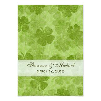 """Shamrock Irish Wedding Invitation 5"""" X 7"""" Invitation Card"""
