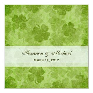 Shamrock Irish Wedding Invitation at Zazzle