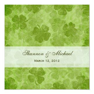 "Shamrock Irish Wedding Invitation 5.25"" Square Invitation Card"