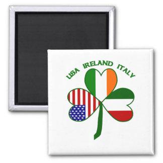 Shamrock Italy USA Irish 2 Inch Square Magnet
