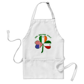 Shamrock Italy USA Irish Adult Apron