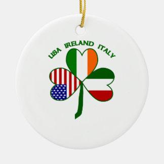 Shamrock Italy USA Irish Ceramic Ornament