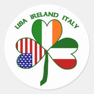 Shamrock Italy USA Irish Classic Round Sticker