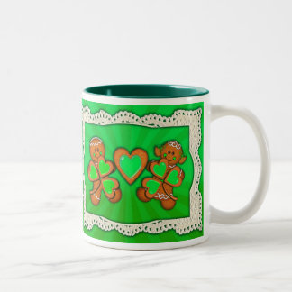 SHAMROCK KIDS, HEART & LIGHT RAYS by SHARON SHARPE Two-Tone Coffee Mug