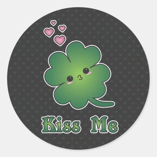 Shamrock - Kiss Me Classic Round Sticker