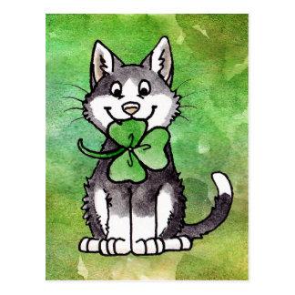 Shamrock Kitty Postcard