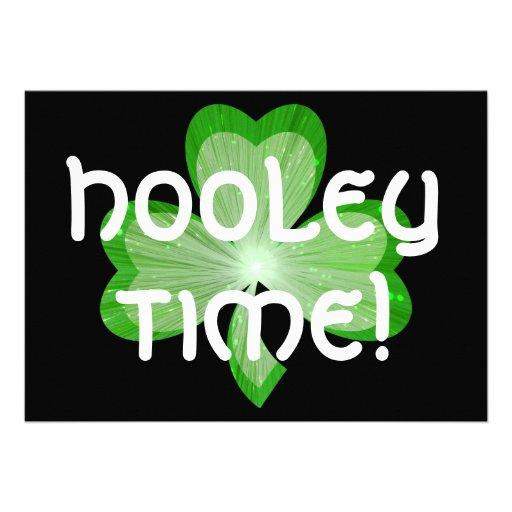 Shamrock large 'Hooley Time!'  invitation black