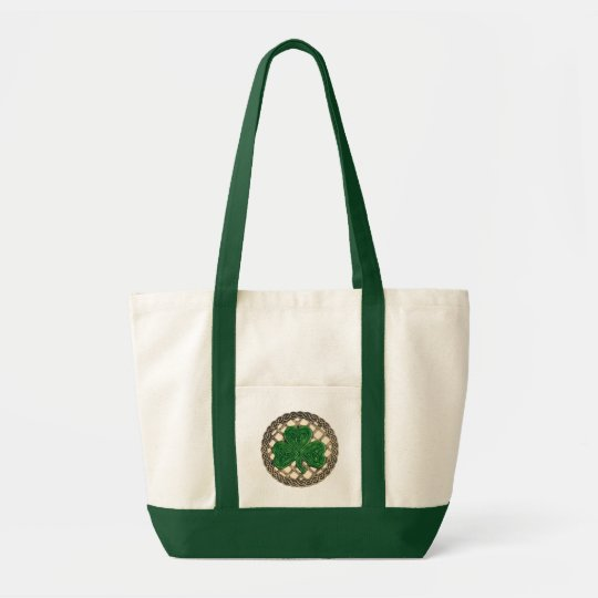 Shamrock, Lattice And Celtic Knots On Beige Bag
