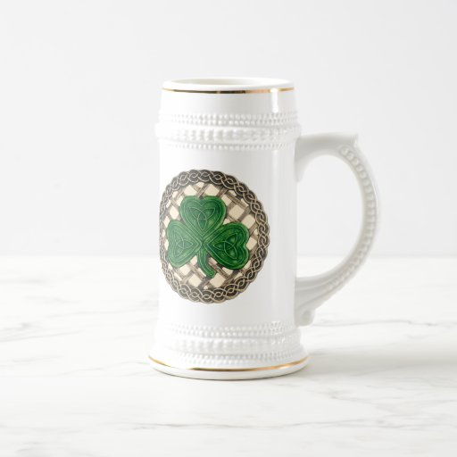 Shamrock, Lattice And Celtic Knots On Beige Mug