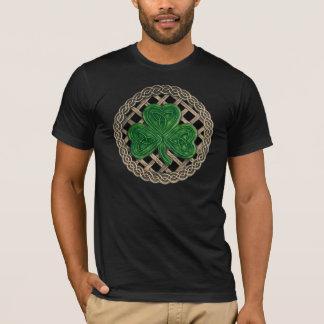 Shamrock, Lattice And Celtic Knots On Black Shirt
