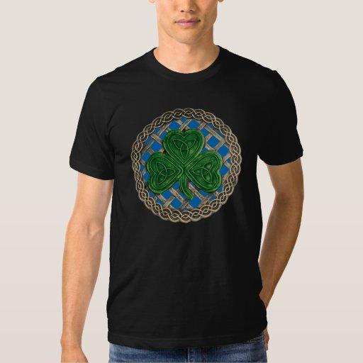 Shamrock, Lattice And Celtic Knots On Blue Shirt