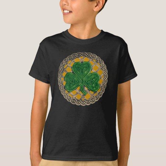 Shamrock Lattice And Celtic Knots On Gold Shirt
