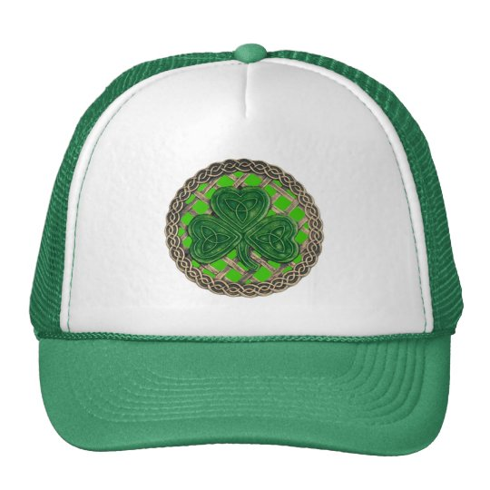 Shamrock, Lattice And Celtic Knots On Green Hat