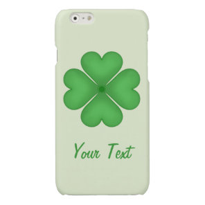 Shamrock leaf Clover Hearts pattern Customizable Glossy iPhone 6 Case