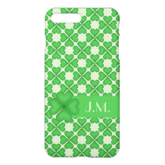Shamrock leaf Clover Hearts pattern Customizable iPhone 7 Plus Case